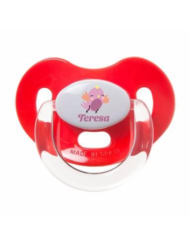 Chupete Personalizado a Color Pájaro Rosa - Chupetes personalizados para bebés