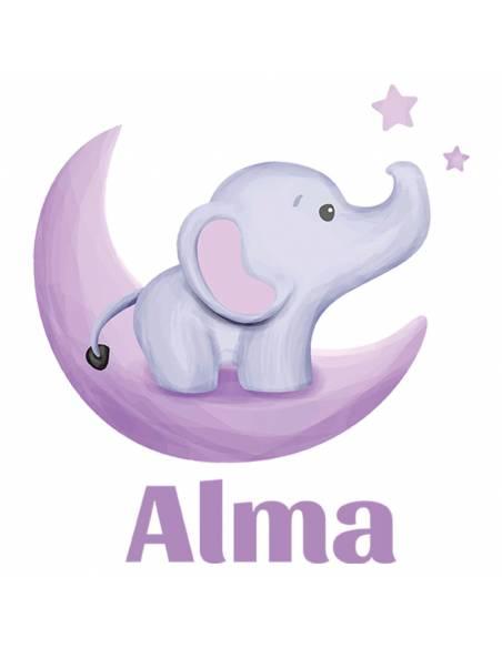 Chupete Personalizado a Color Elefante Luna - Chupetes personalizados para bebés