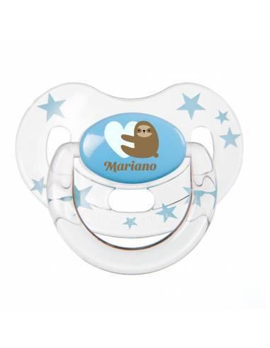 Chupete Personalizado a Color Perezoso Azul - Chupetes personalizados para bebés
