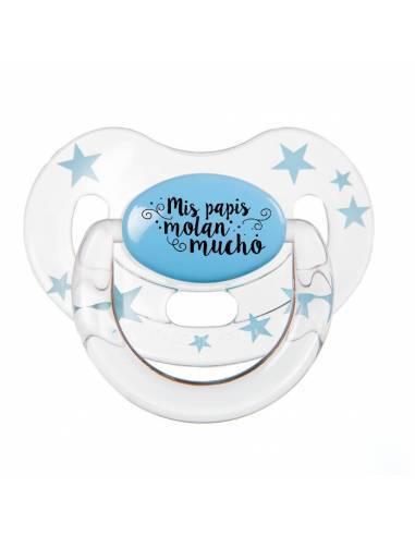 "Chupete con frase ""Mis papis molan mucho"" - Chupetes originales con frases"