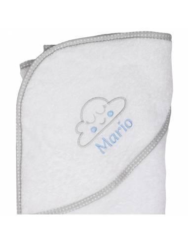 Capa de baño bebé personalizada NUBE COLORETE azul - Inicio
