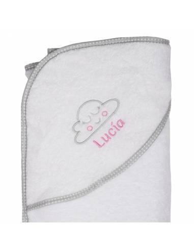 Capa de baño bebé personalizada NUBE COLORETE rosa - Inicio