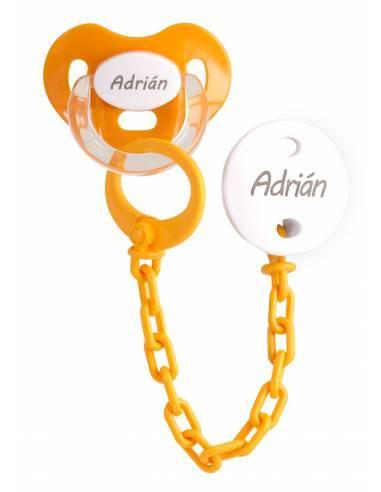 Pack Chupete y chupetero Personalizado naranja - Conjuntos Personalizados con chupetes