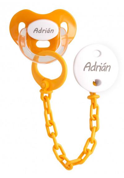 Conjuntos Personalizados con chupetes - Pack Chupete y chupetero Personalizado naranja