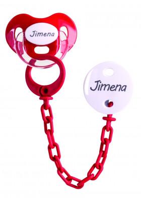 Conjuntos Personalizados con chupetes - Pack Chupete y chupetero Personalizado Rojo