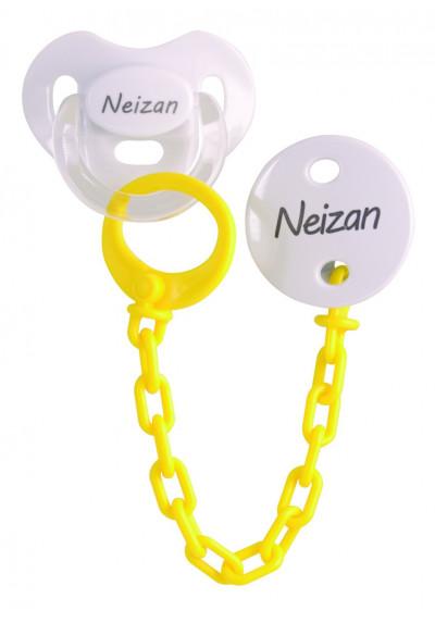 Conjuntos Personalizados con chupetes - Pack chupete y chupetero Amarillo personalizable