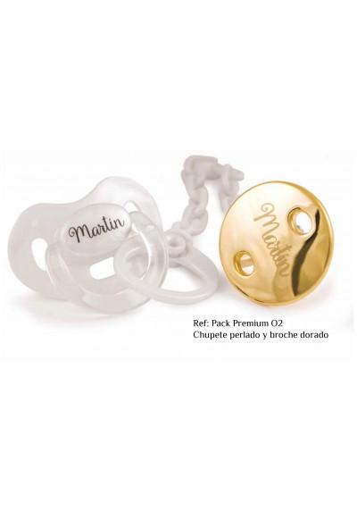 PACK PREMIUM chupete + cacena personalizado con caja de regalo