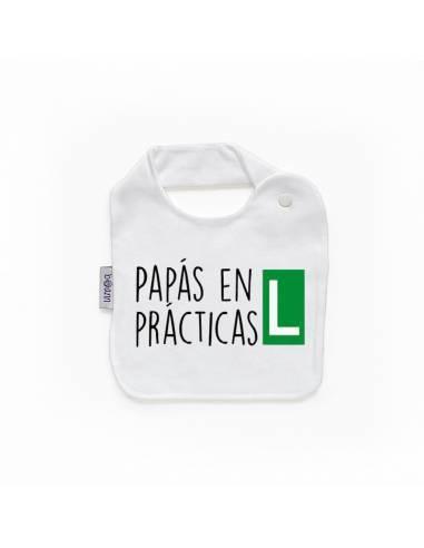 """Babero personilazado """"""""""""Papás en prácticas"""""""