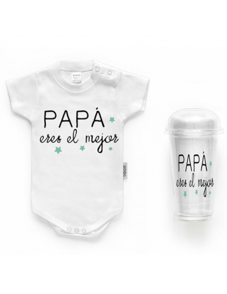 """Body bebé personalizado FRASE """"PAPÁ eres el mejor"""" - Bodys bebé personalizados"""