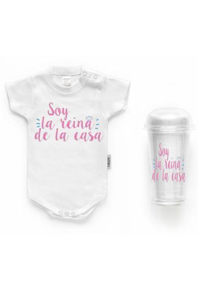 """BODYS BEBÉ PERSONALIZADOS - Body bebé personalizado FRASE """"Soy la reina de la casa"""""""