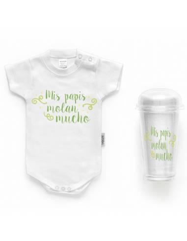 "Body bebé personalizado FRASE ""Mis papis molan mucho"" - Bodys bebé personalizados"