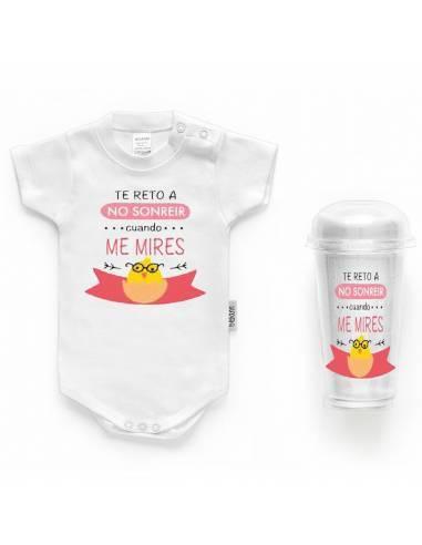 "Body bebé personalizado FRASE ""Te reto a sonreir ccuando me mires"" - Bodys bebé personalizados"
