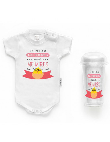 "Body bebé personalizado FRASE ""Te reto a sonreir cuando me mires"" - Bodys bebé personalizados"