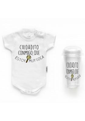 """BODYS BEBÉ PERSONALIZADOS - Body bebé personalizado FRASE """"Cuidadito conmigo que estoy muy loca"""""""