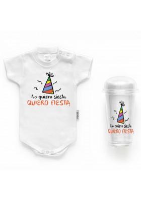 """BODYS BEBÉ PERSONALIZADOS - Body bebé personalizado FRASE """"No quiero siesta quiero fiesta"""""""