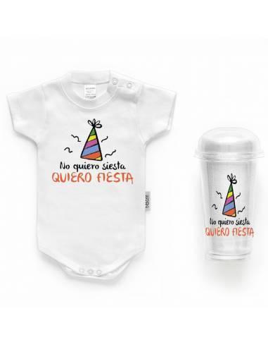 """Body bebé personalizado FRASE """"No quiero siesta quiero fiesta"""" - Bodys bebé personalizados"""