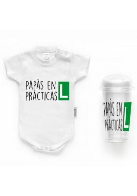 """BODYS BEBÉ PERSONALIZADOS - Body bebé personalizado FRASE """"Papás en prácticas"""""""