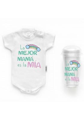 """BODYS BEBÉ PERSONALIZADOS - Body bebé personalizado FRASE """"La mejor mamá es la mía"""""""
