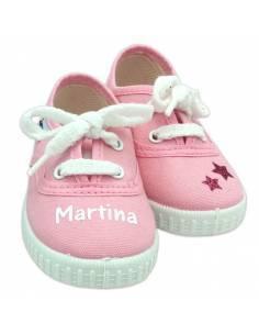 Zapatillas bebé ROSAS personalizadas con el nombre