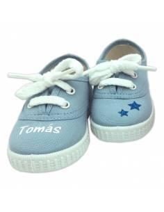Zapatillas bebé AZUL CELESTE personalizadas con el nombre