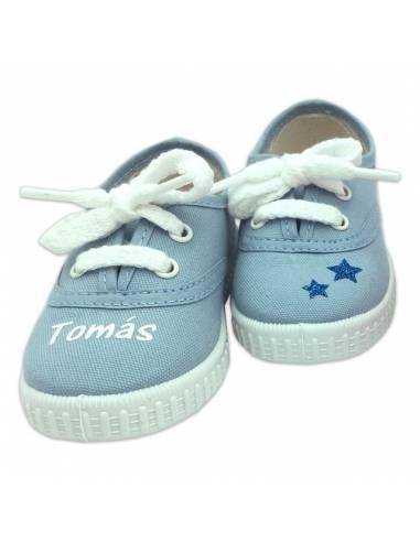 Zapatillas bebé AZUL CELESTE personalizadas con el nombre - Inicio