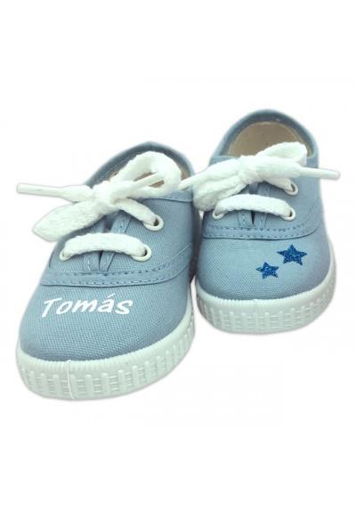 Inicio - Zapatillas bebé AZUL CELESTE personalizadas con el nombre