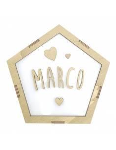 Lámpara pentágono CORAZONES decorativa personalizada con nombre
