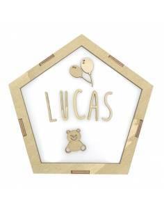 Lámpara pentágono GLOBOS decorativa personalizada con nombre