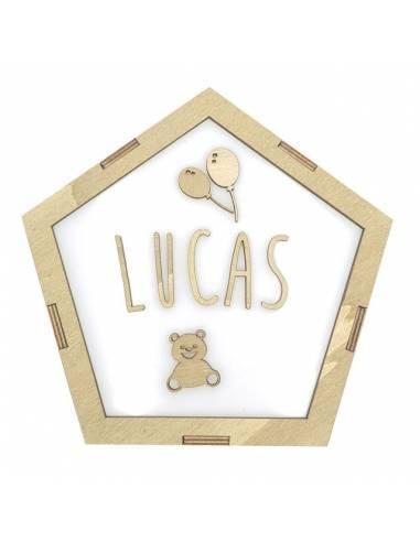 Lámpara pentágono GLOBOS decorativa personalizada con nombre - Lámparas infantiles personalizadas