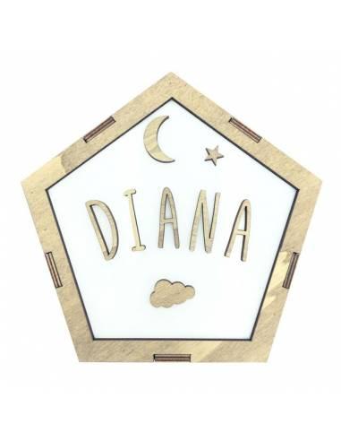 Lámpara pentágono LUNA decorativa personalizada con nombre - Lámparas infantiles personalizadas