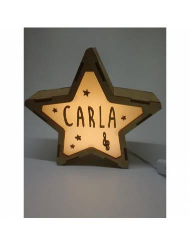 Lámpara MÚSICA decorativa estrella personalizada con nombre - Lámparas infantiles personalizadas