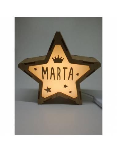 Lámpara CORONA decorativa estrella personalizada con nombre - Lámparas infantiles personalizadas