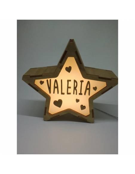 Lámpara CORAZONES decorativa estrella personalizada con nombre - Lámparas infantiles personalizadas