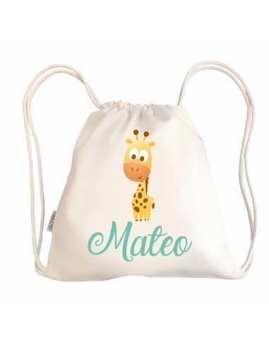 Mini talega bebé personalizada JIRAFA - Talegas bebé personalizadas