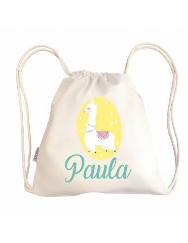 Mini talega bebé personalizada LLAMA - Talega bebé personalizada con asas