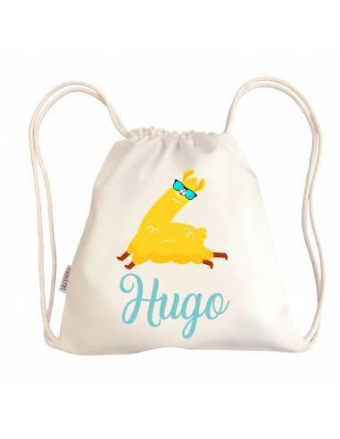 Mini talega bebé personalizada LLAMA GAFAS - Talega bebé personalizada con asas
