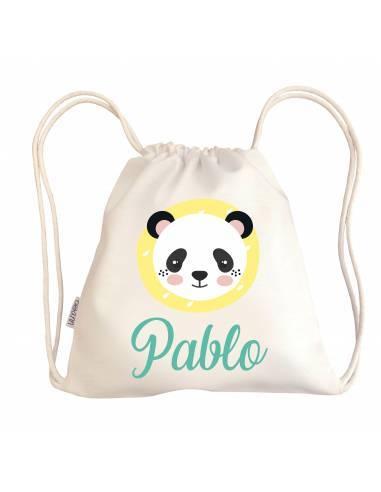 Mini talega bebé personalizada PANDA - Talega bebé personalizada con asas