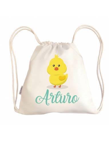 Mini talega bebé personalizada POLLO - Talega bebé personalizada con asas