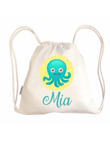 Mini talega bebé personalizada PULPO - Talega bebé personalizada con asas