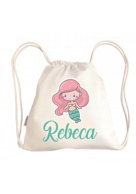 TALEGAS BEBÉ PERSONALIZADAS - Mini talega bebé personalizada SIRENA