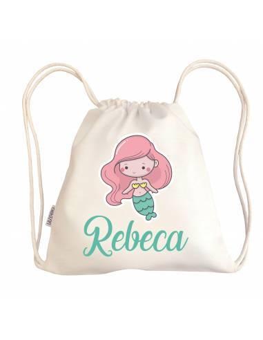 Mini talega bebé personalizada SIRENA - Talega bebé personalizada con asas