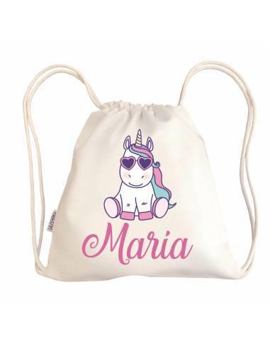 Mini talega bebé personalizada UNICORNIO GAFAS - Talega bebé personalizada con asas