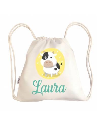 Mini talega bebé personalizada VACA - Talega bebé personalizada con asas