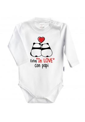 """BODYS BEBÉ PERSONALIZADOS - Body bebé personalizado """"Estoy in love con papi"""" Pandas"""
