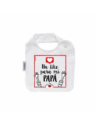 """Babero personilazado """"Un like para mi papá"""" - Baberos personalizados divertidos"""