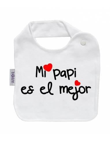"""Babero personilazado """"Mi papi es el mejor"""" - Baberos personalizados divertidos"""