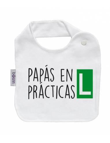 """Babero personilazado """"Papás en prácticas"""" - Baberos personalizados divertidos"""