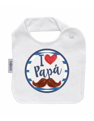 "Babero personilazado ""I love papá"" - Baberos personalizados divertidos"