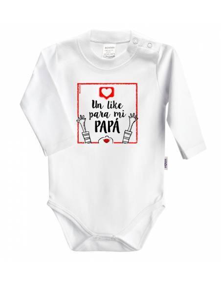 REGALO PAPÁ: Body + babero+chupete Un like para mi papá - Regalos bebés día del Padre