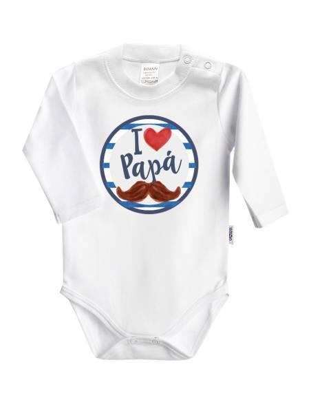 REGALO PAPÁ: Body + babero+chupete I love papá - Regalos bebés día del Padre